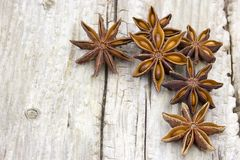 Star anise. On wooden background royalty free stock images