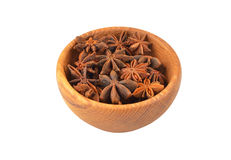 Star anise in wooden bowl Royalty Free Stock Image