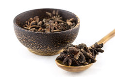 Star anise on wooden spoon and bowl Stock Images