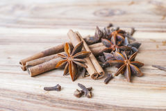 Star anise on a wooden table. Selective focus Royalty Free Stock Photography
