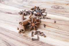 Star anise on a wooden table. Selective focus Royalty Free Stock Images