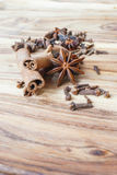 Star anise on a wooden table. Selective focus Royalty Free Stock Photos