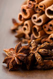 Star aniseed and cinnamon sticks Stock Images