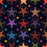 Star around colorful seamless pattern. This illustration is abstract star not lonely, many stars around it in dark color background and seamless pattern Royalty Free Stock Image