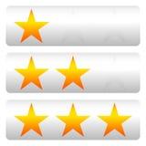 Star a avaliação com 3 estrelas - Star os painéis da avaliação Foto de Stock