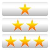 Star a avaliação com 3 estrelas - Star os painéis da avaliação Imagens de Stock Royalty Free