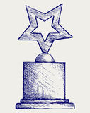Star award against. Doodle style Stock Images