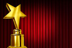 Star Award On Red Curtains. Or velvet drapes with a spot light representing an achievement trophy prize ob a theatre stage during an awards ceremony to Royalty Free Stock Photos
