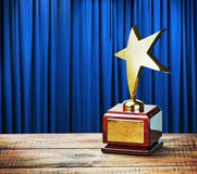 Star award wooden table Stock Photos