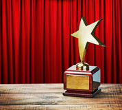 Star award wooden table Stock Photography