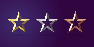 Star awards first second third place. Stars shape logotype set. Isolated elegant abstract nominee emblem #1 #2 #3 place 3d symbols. Luxurious congratulating stock illustration