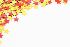 Star background. Gold and red star background royalty free stock photo