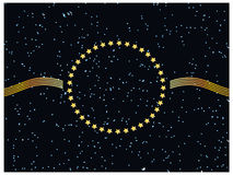 Star background end gold frame. Royalty Free Stock Photo