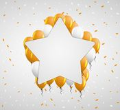 Star badge and orange balloons Royalty Free Stock Photo