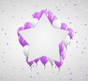 Star badge and violet balloons Stock Image