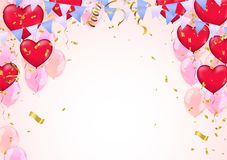Star balloon and balloon on background. Party helium balloons ba. Lloons isolated on white background. confetti and ribbons for greeting cards and poster with Stock Image