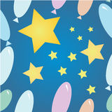 Star and balls. Funny seamless pattern with stars and balloons Stock Images