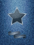 Star and banner over denim texture background Stock Images