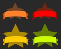 Star banners. Colorful ribbon banners - empty banner template with copyspace. Ribbons set Royalty Free Stock Image