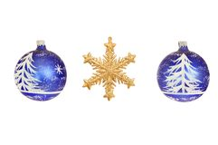 Star and bauble decorations. Snowflake star and snow scene Christmas baubles isolated against white Stock Photo