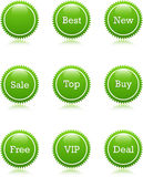 Star Best Set. Web 2.0 Green Star Set for New Sales Royalty Free Stock Photo