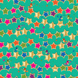 Star bird colorful play seamless pattern Stock Photo