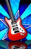 Star Birst Red Rock Guitar Illustration. Red, white, and black guitar on a blue star burst background stock illustration