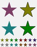 Star, black star collection with colored stripes coming out from above. Geometric figure in the shape of star Stock Photography