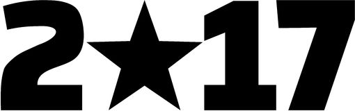 2017 with star. Black icon Stock Image