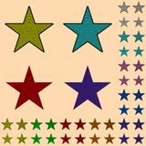 Star, black star collection with colored stripes leaving from the center. Geometric figure in the shape of star Royalty Free Stock Photography
