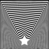 Star black stripes optical illusion visual art effect. Stock Photo
