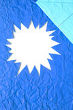 Star blank crumpled paper in blue Stock Photography