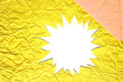Star blank crumpled paper in yellow Royalty Free Stock Image