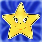 Star on blue. Illustration fun that is a star who smiles on a blue background Stock Photography