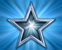 Star on blue background. Illustration of a silver blue star on a blue background Royalty Free Stock Photography