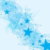 Star blue fan brush card Stock Photo