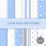 12 star blue & grey seamless pattern. 12 star blue & grey seamless pattern ,Vector Illustration, EPS 10 Royalty Free Stock Image