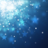 Star bokeh backgrounds. Blue star bokeh abstract light backgrounds Royalty Free Stock Photos