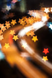 Star bokeh shape with light trail Stock Photo