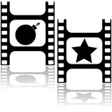Star or bomb. Concept illustration showing a film strip with a bomb and a star, for good and bad movies Stock Photography