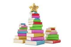 Star on book stacks,3D illustration. Star on book stacks, 3D illustration royalty free illustration