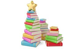 Star on book stacks,3D illustration. Star on book stacks, 3D illustration stock illustration