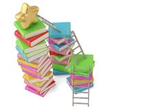Star on book stacks with ladders,3D illustration. Star on book stacks with ladders, 3D illustration stock illustration