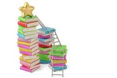 Star on book stacks with ladders,3D illustration. Star on book stacks with ladders, 3D illustration vector illustration