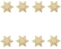 Star border. Winter border - gold snow stars on white background Stock Images