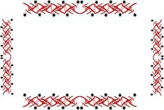 Star border and frame. Border and frame of stars and oriental designs on white Stock Photo