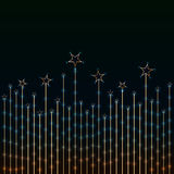 Star border light golden. Illustration golden stars growth light background blue colors backdrop Stock Photos