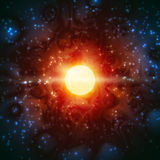 Star Born Light Shine Space Burning Universe Fantastic. A shining star is born in the interstellar nebula; The Sun emits prominences; Eps10; No Meshes Royalty Free Stock Images