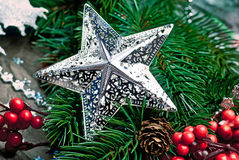 Star with branch of Christmas tree Stock Photo