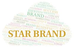 Star Brand word cloud. Wordcloud made with text only stock illustration